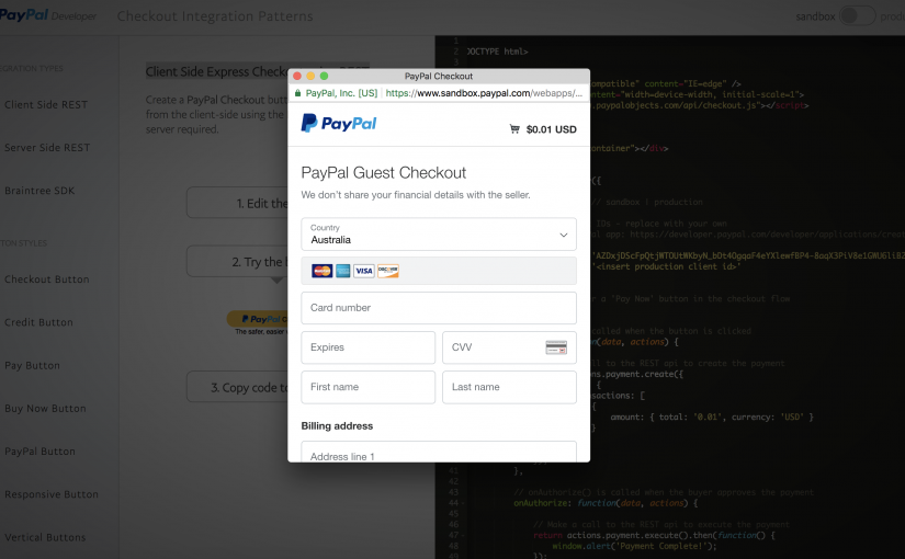 Paypal Client Side Express Checkout Popup PHP Cart Example Code