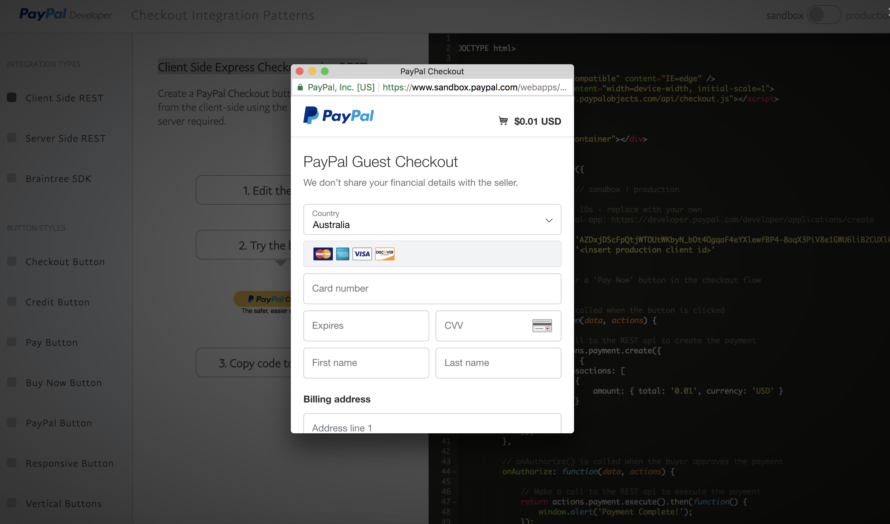 Paypal Client Side Express Checkout Popup PHP Cart Example