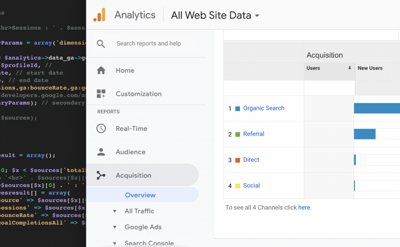Retrieve Acquisition Overview & Top Channels Data Using Google Analytics Reporting API & PHP